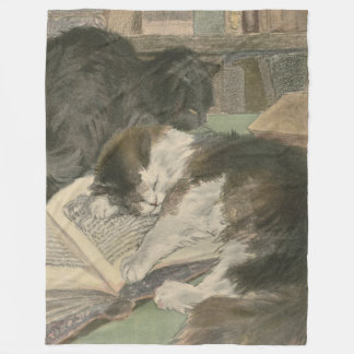 Two Cats In The Library fleece blanket