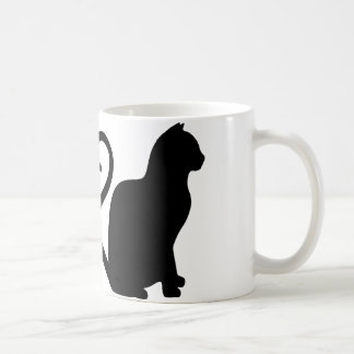 Two Cats Make a Heart Silhouette Coffee Mug