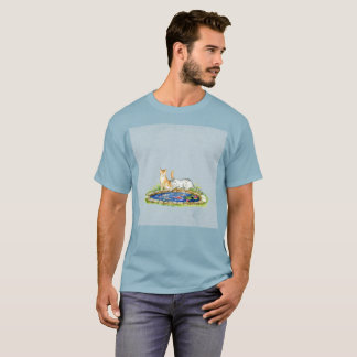 Two Cats Water Pond Art Watercolor Rare T-Shirt