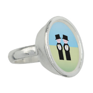 Two caucasian grooms photo rings