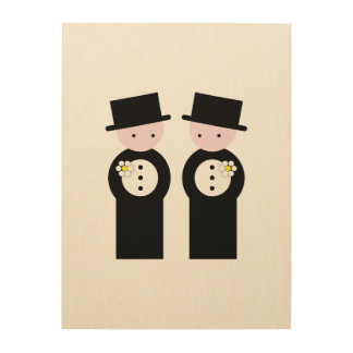 Two caucasian grooms wood print