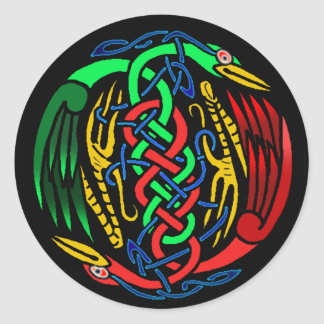 Two Celtic Birds Classic Round Sticker
