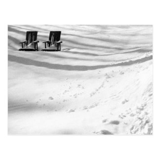 Two Chairs Buried In Snow Postcard