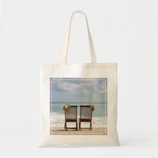 Two Chairs On Beach | Barbados Budget Tote Bag