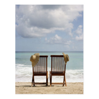 Two Chairs On Beach | Barbados Postcard
