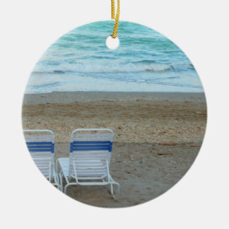 Two chairs on beach sand ocean waves ceramic ornament
