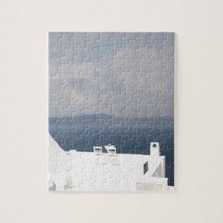 Two chairs on Santorini island Jigsaw Puzzle