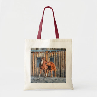 Two Cheeky Horses and a Barn Equine Photo Budget Tote Bag