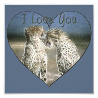 Two Cheetahs Kissing I Love You Photo Art