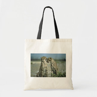 Two cheetahs sitting face to face budget tote bag