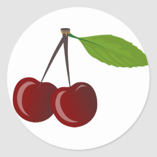 Two Cherries Classic Round Sticker