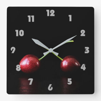 Two Cherries Grey Fat Numbers Wall Clock