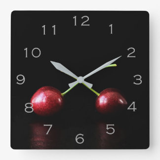 Two Cherries Grey Numbers Wall Clock