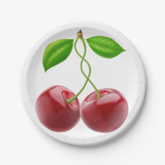 Two cherries paper plate