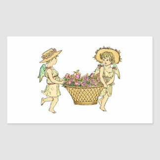 Two Cherubs Carrying Flowers Rectangular Sticker
