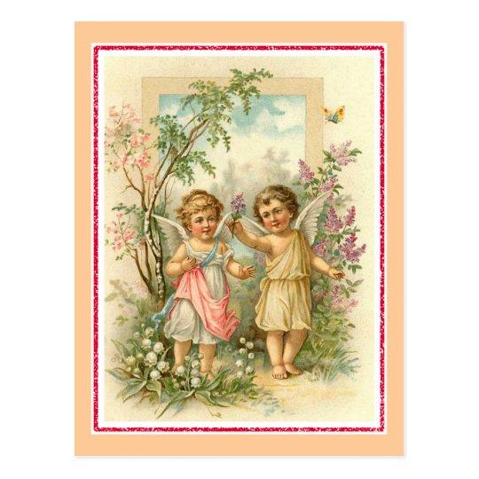 """""""Two Cherubs in a Garden"""" Vintage Postcard"""