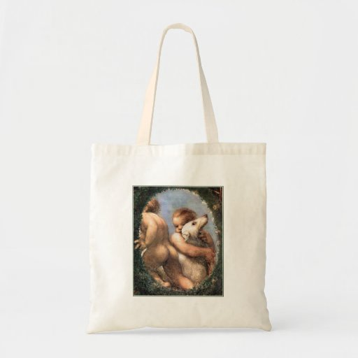 Two Cherubs, One with a Dog Tote Bag