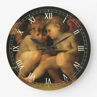 Two Cherubs Reading by Rosso Fiorentino, Angels Large Clock
