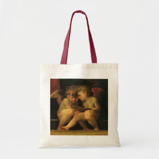 Two Cherubs Reading by Rosso Fiorentino Canvas Bags