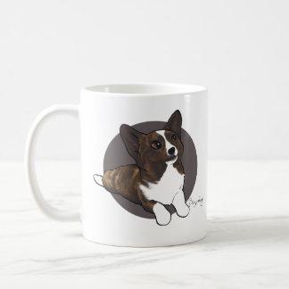 Two Chibi Brindle Cardigan Corgis Coffee Mug