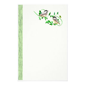 Two Chickadees Personalized Stationery