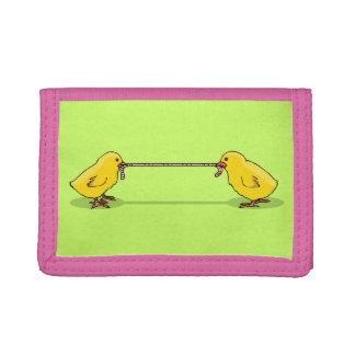 Two Chicks and a Worm Tri-fold Wallets