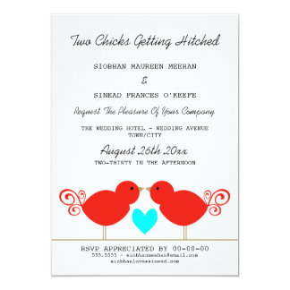 Two Chicks Getting Hitched Lesbian Wedding Card