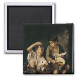 Two Children Eating a Melon and Grapes, 1645-46 Square Magnet