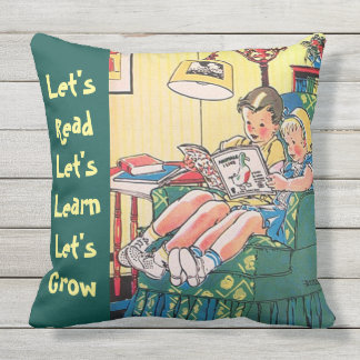 Two Children Reading Books Home Library Learning Outdoor Cushion