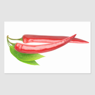 Two chillies with leaf rectangular sticker