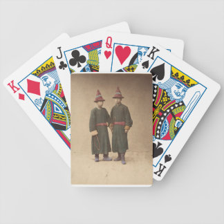 Two Chinese Men in Matching Traditional Dress Bicycle Playing Cards
