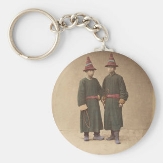 Two Chinese Men in Matching Traditional Dress Key Ring