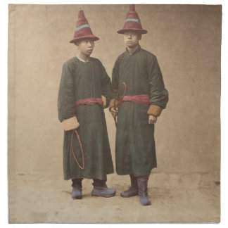 Two Chinese Men in Matching Traditional Dress Napkin