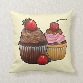 Two Chocolate Cupcakes, Strawberries, Painting Throw Pillow