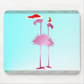 Two Christmas Flamingos Mouse Pad