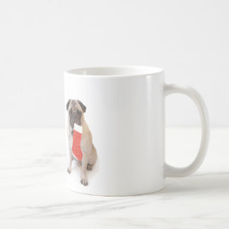 Two christmas pugs basic white mug