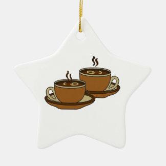 TWO COFFEE CUPS CERAMIC ORNAMENT