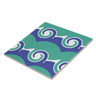 Two color swirls large square tile