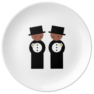 Two colored grooms porcelain plate