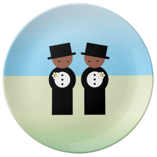 Two colored grooms porcelain plates
