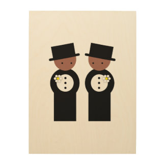 Two colored grooms wood canvases