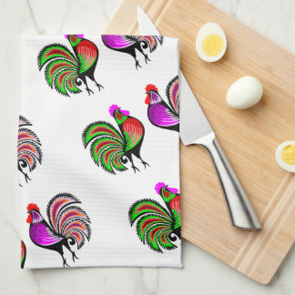 Two Colorful Alert Roosters Pattern Tea Towel