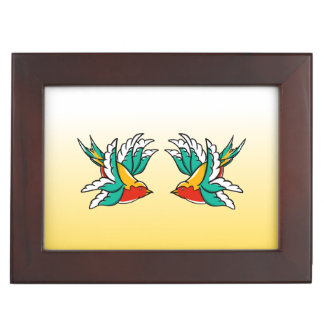 Two Colorful Flying Swallows Tattoo Inspired Keepsake Box