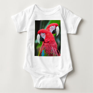 Two colorful macaw parrots baby bodysuit