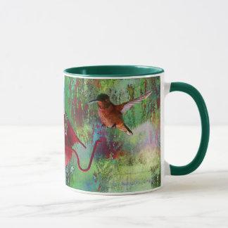 Two Colourful Hovering Hummingbirds at Feeder Mug
