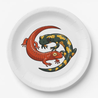 Two Colourful Smiling Salamanders Entwined Cartoon 9 Inch Paper Plate