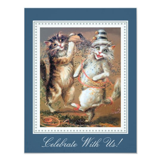 Two Confetti-Tossing Cats Party Card