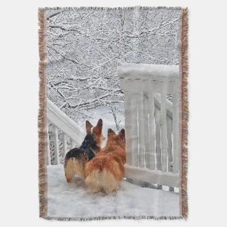 Two Corgis in the Snow Throw Blanket