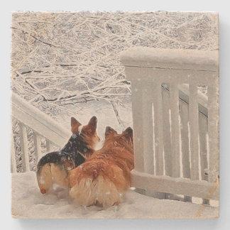 Two Corgis in Winter Stone Coaster