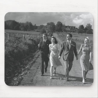 Two couples walking on country road B&W Mouse Pad